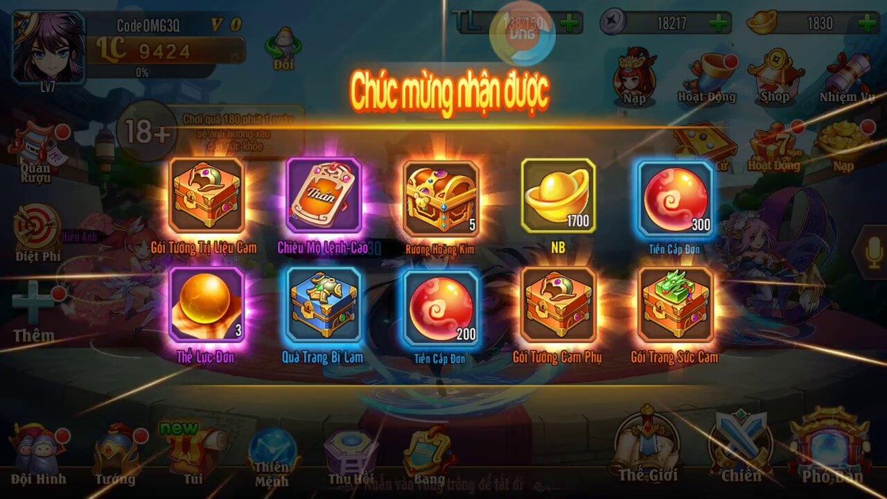 Miễn phí Giftcode Omg 3Q mới nhất 2020 cho tất cả thành viên