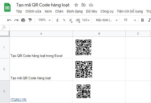 Cách tạo mã QR Code trong Excel và Google Sheet hàng loạt miễn phí